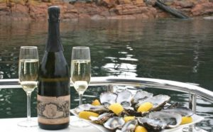 Tasmanian oyster dinner. Bike Odyssey tour